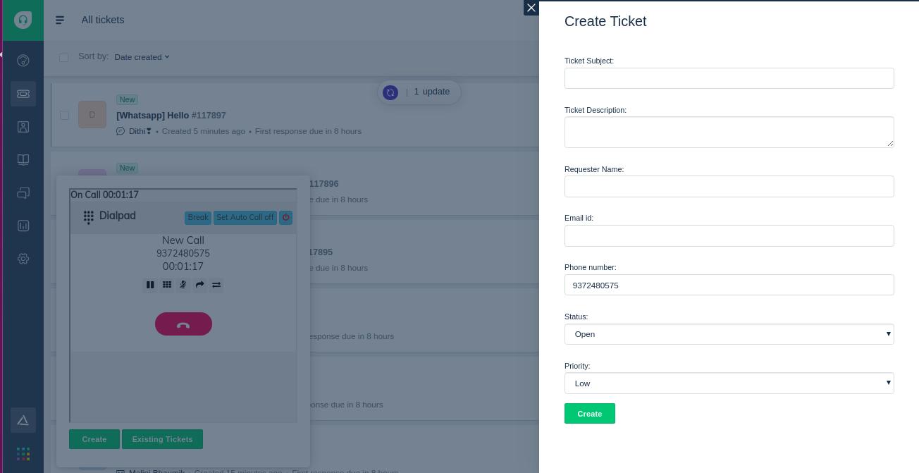 Freshdesk On Call Ticket Creat